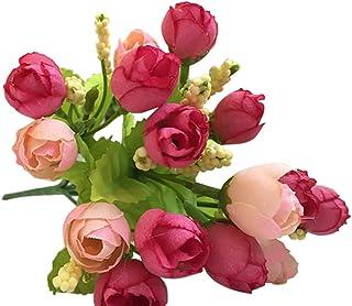 Farantasy造花ファッション美しい現実的な15ヘッド珍しい人工ローズシルク偽の花の葉ホーム装飾ブライダルブーケホーム結婚式の装飾人工花