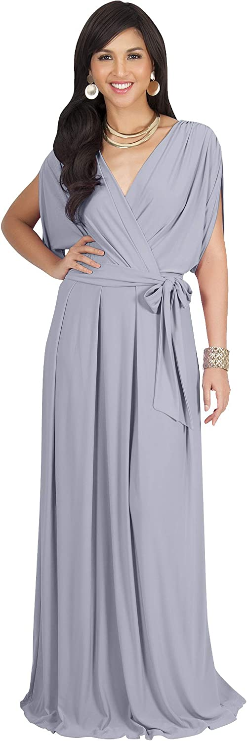 Koh Koh Womens Long Formal Short Sleeve Cocktail Flowy VNeck Gown Maxi Dress