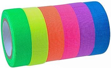 6 Kleuren Fluorescerende Gaffer Textieltape, UV Blacklight Reactive Fluorescerende, Neon Gaffer Tape, Glow in The Dark ond...