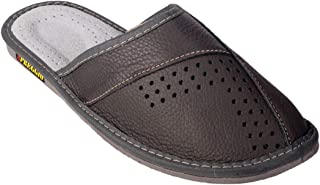 APREGGIO Pantoufles Chaussons Homme 100% Cuir Produit Naturel Fait Main Noir Semelle Solide Confort Confortable Doux