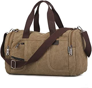 Mens Small Canvas Overnight Bag, Travel Duffel Bag Canvas Weekender Overnight Bag for Men Women (Khaki Color)