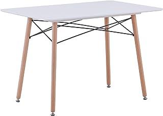 BenyLed Table de Cuisine Rectangulaire Moderne avec Pieds en Bois de Hêtre et Structure en Métal, Table D'appoint Scandina...