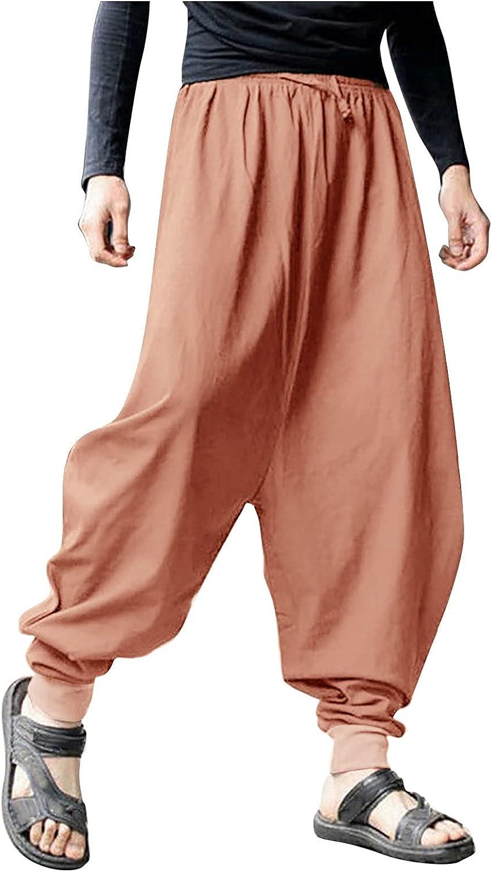 Harem Pants for Men Plus Size Loose Solid Color Casual Pants Summer Fashin Retro Cotton Linen Trousers - Limsea
