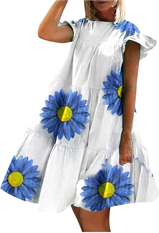 Sun Dresses Women Summer Women's Deep O-Neck Tshirts Dresses Summer Short Sleeve Floral Print Dress Womens Dresses