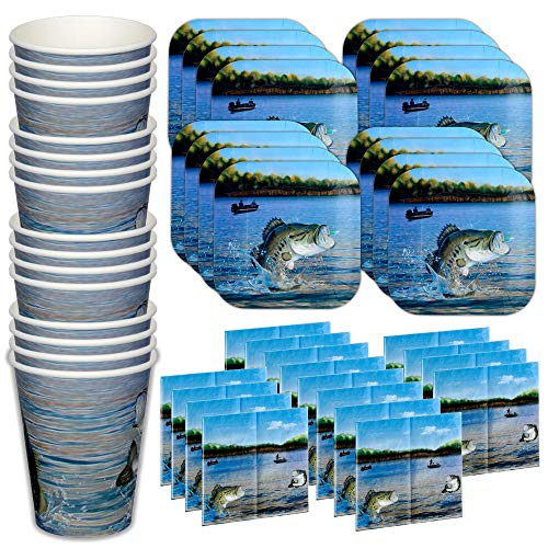 Havercamp Gone Fishin' Dinnerware Bundle for 16   Dinner Plates, Cups, Napkins   Great for Father's Day, Fishing Tournament, Birthday Party