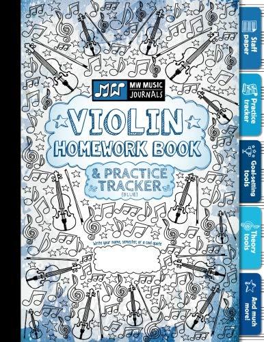 Violin Homework Book and Practice Tracker (Blue)