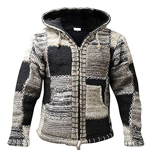 Shopoholic Fashion - Giacca con cappuccio da uomo, in lana, stile hippie/festival, colore: nero/grigio multicolore L
