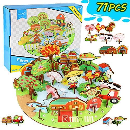AYUQI Puzzle in Legno 3D per Bambini, Puzzle Creativo per Bambini Puzzle Educativo a Tema Animale da Fattoria Vivido, Giocattoli di Apprendimento Prescolare per età 3 4 5 6 per Ragazzi Ragazze