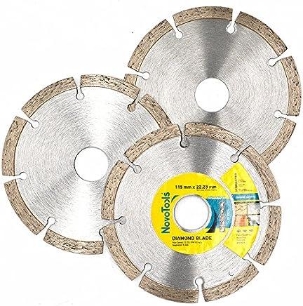 Novotools 115x 22,2Mm-set 3pcs Diamant Lames. universel Disques à tronçonner pour meuleuse d'angle pour pierre, Brique, béton. Haute qualité