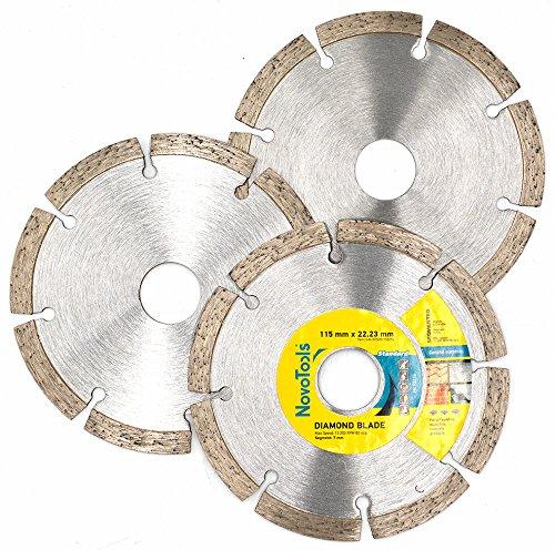 NOVOTOOLS Diamanttrennscheibe 115 x 22,2 mm (3 Stück) Profi Qualität. Die Universal-Scheibe - Für Granit, Beton, armierter Beton, Kalksandstein, Ziegel, Waschbeton, Mauerwerk