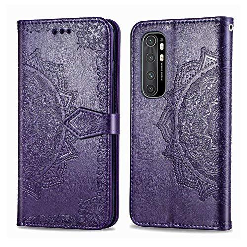 Bear Village Hülle für Xiaomi MI Note 10 Lite, PU Lederhülle Handyhülle für Xiaomi MI Note 10 Lite, Brieftasche Kratzfestes Magnet Handytasche mit Kartenfach, Violett