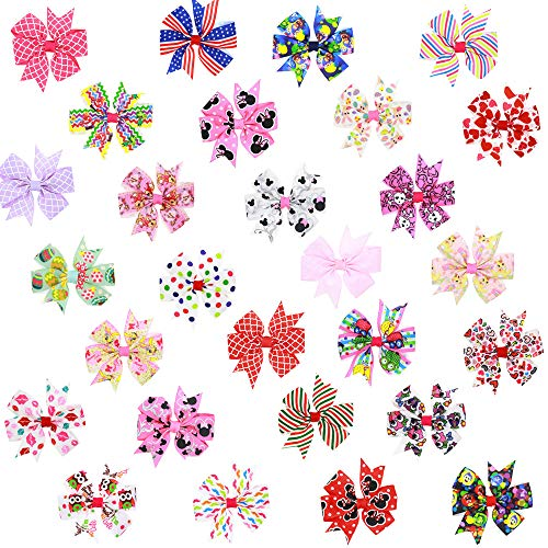3.3 inch 56 pieces 28 colours children's Hair Bows,Grosgrain Ribbon Boutique hand-printed bow hairpin with Alligator Hair Clip Very Cute Beautiful Girls Bows