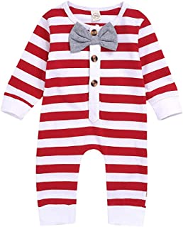 Newborn Infant Baby Gentleman Jumpsuit Striper Bow Clothes