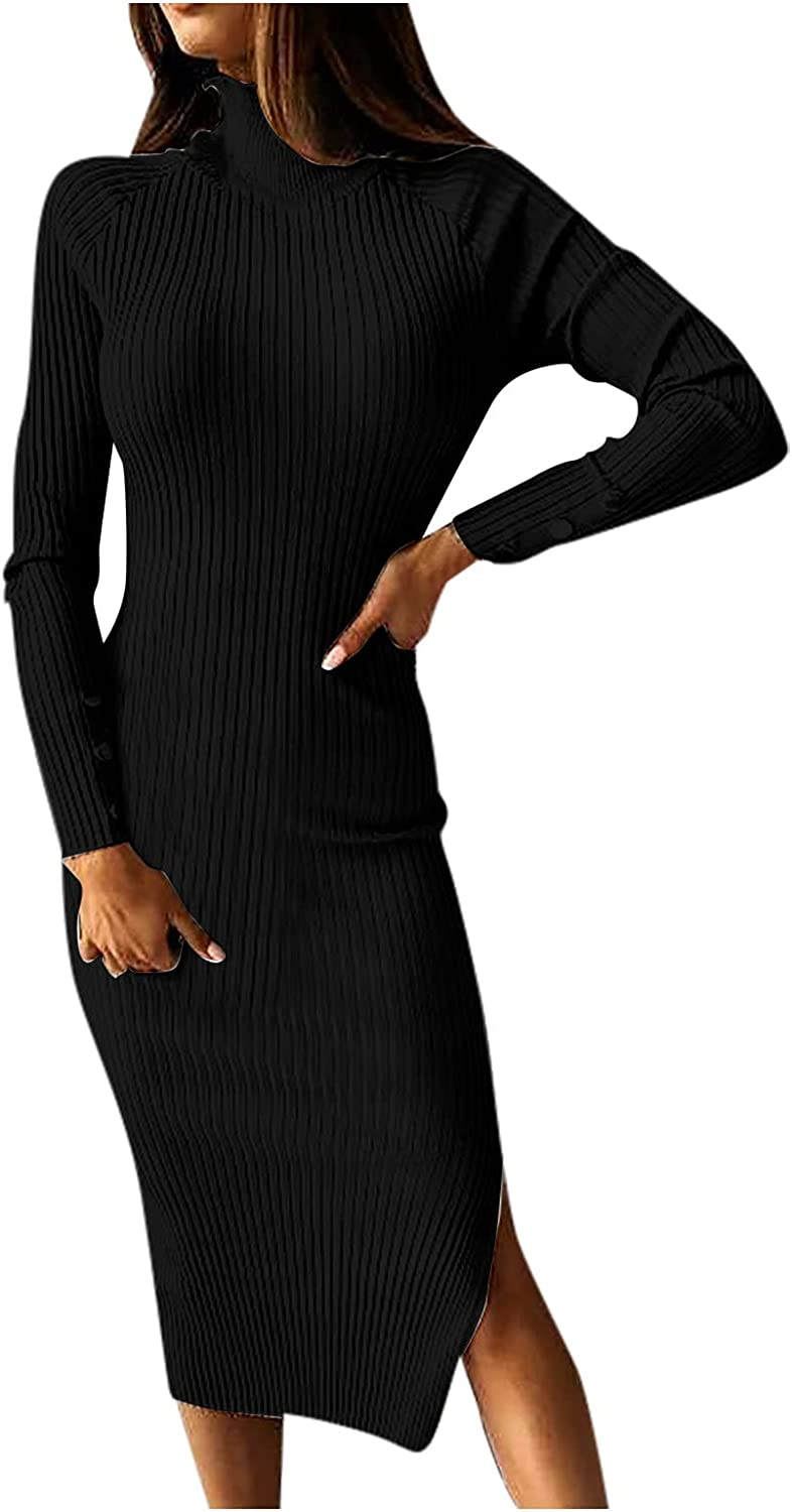 FRSH MNT Women's Sexy Party Skinny Dress Fall Long Sleeve Solid Buttons Dress Bodycon Sweater Long Dresses
