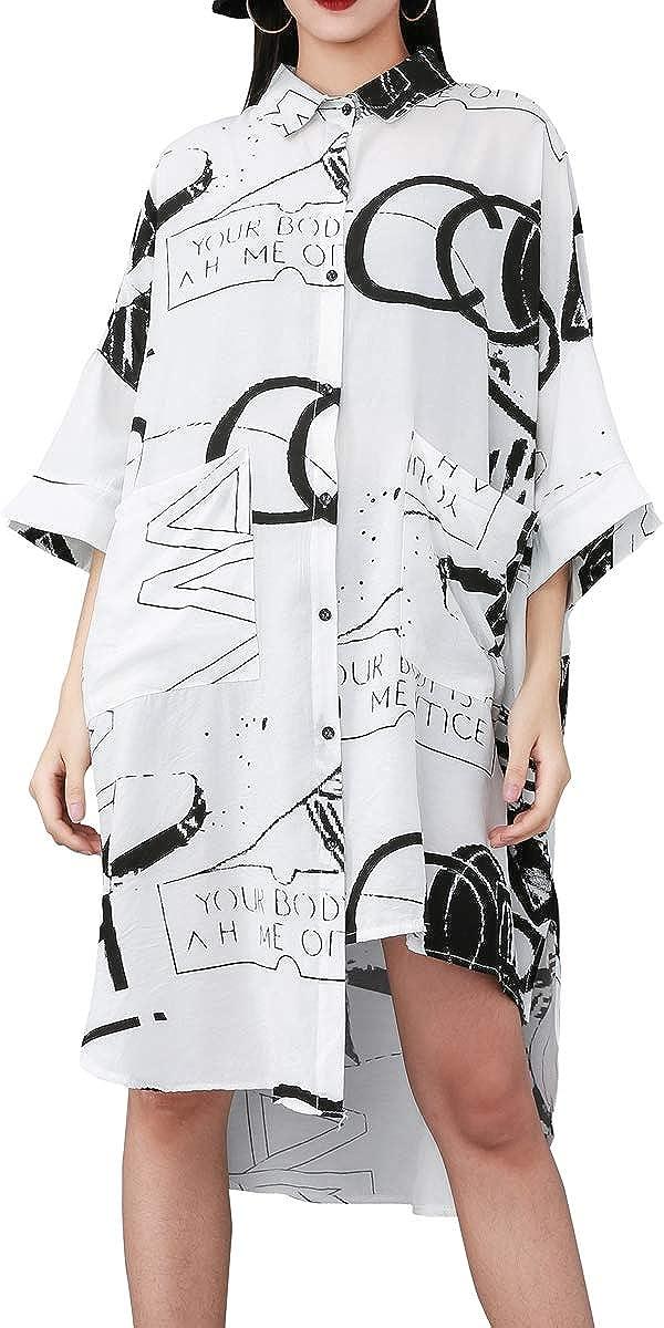 ellazhu Women's 1/2 Sleeve Loose Fit Button-Down Long Shirts with Irregular Hem GY1828