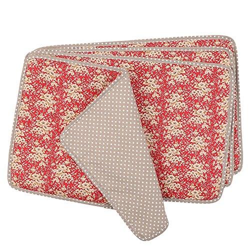 Neoviva Lot de 4 sets de table avec tissu matelassé, Polyester 100 % coton Coton, Fleur de mandarine rouge (pois marron)., 45x30CM