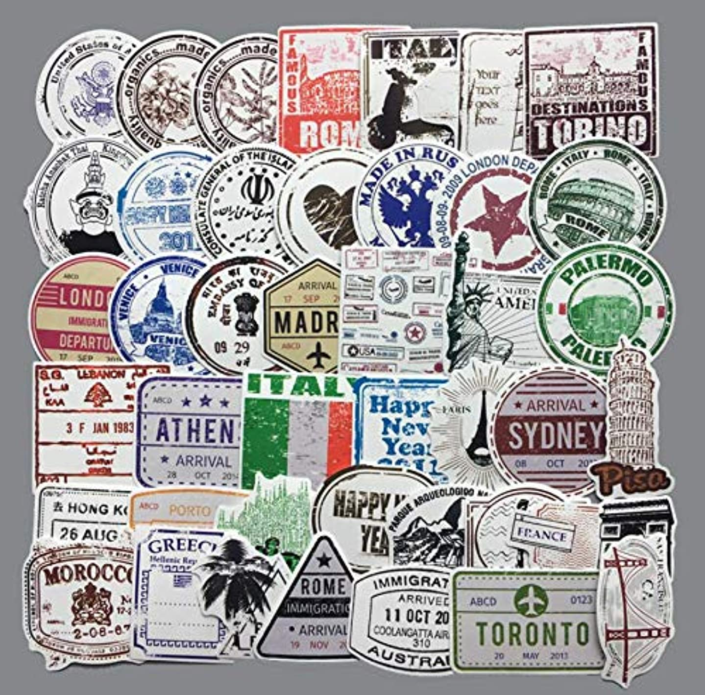 Astra Gourmet 60 Pcs Retro Stamp Postmark Vinyl Computer Stickers PVC Decals Lovely Stamp Laptop Stickers for Cars Motorbikes Skateboard Water Bottle Motorcycle Luggage Guitar