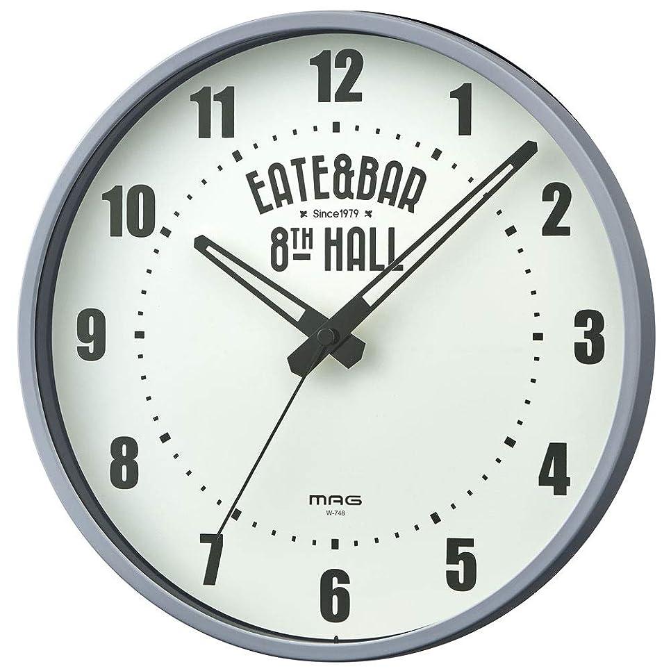 なめらかマスクラダMAG(マグ) 掛け時計 非電波 アナログ ウォールクロック 直径25cm 連続秒針 グレー W-748GY-Z