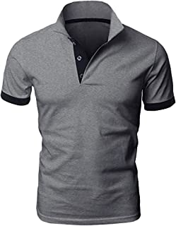Polo Shirt for Men, F_Gotal Men's T-Shirts Fashion Summer Short Sleeve Patchwork Solid Casual Sport Tees Blouse Tops