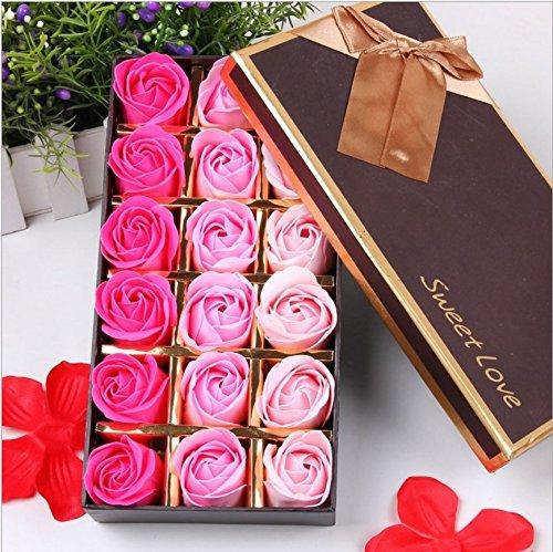 VanseRun 18 Piezas Rose Jabones Perfumados en Caja de Regalo, Regalo Esenciales Jabón de Aceite para el Día de los Enamorados de Baño de Burbujas Regalo de San Valentín/Regalos de Boda Regalos(Rosa)
