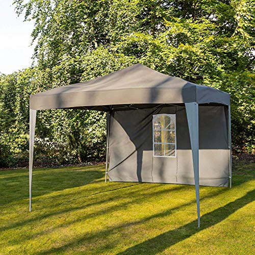 Pop Up Gazebo Party Tent | 3m x 3m Garden Marquee | Charcoal Grey with Window Side Panel | Water and UV Resistant ZHANGKANG
