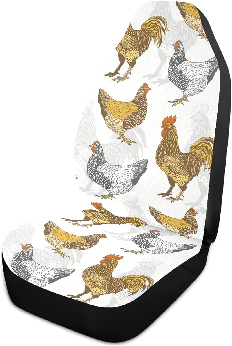 Oarencol Rooster Hen Car Seat Chicken Cock Covers New specialty shop item Vintage Animal