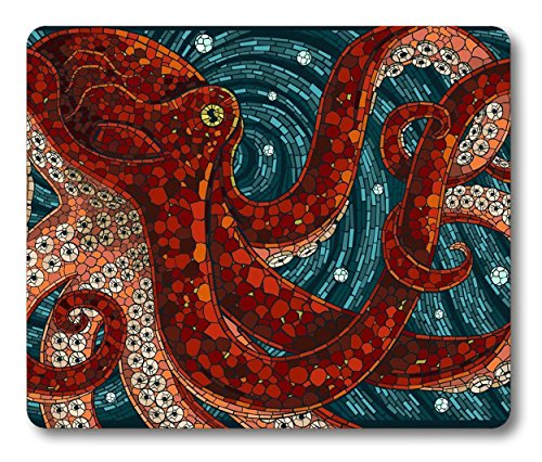 Red Octopus Mouse Pad by Smooffly,Octopus in The Oceans Customized Rectangle Non-Slip Rubber Mousepad Gaming Mouse Pad