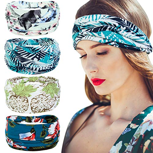 Nakerfop 4 Pack Wide Headbands for Women, Elastic Head Bandana Hairbands Non Slip Print Knot Headwraps for Sports, Yoga, Running, Cycling(Sky blue)
