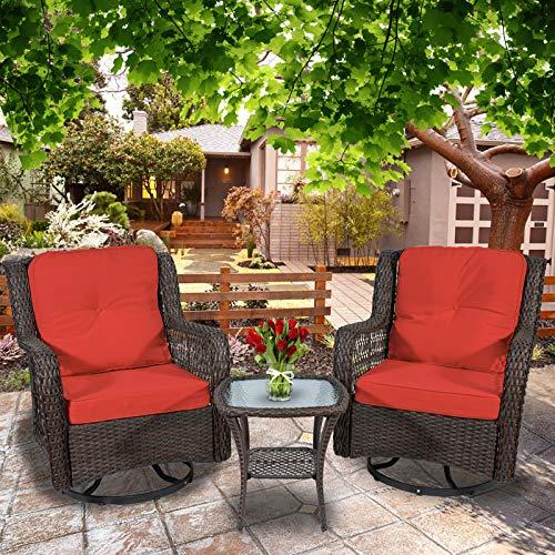 3-Piece Patio Furniture Wicker Rocker Swivel Chairs