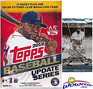 2016 Topps UPDATE MLB Baseball EXCLUSIVE Factory Sealed Retail Box with 10 Packs & 101 Cards PLUS Bonus BABE RUTH Collection Foil Pack! Box includes VERY SPECIAL MLB 500 HR Futures Club Medallion!