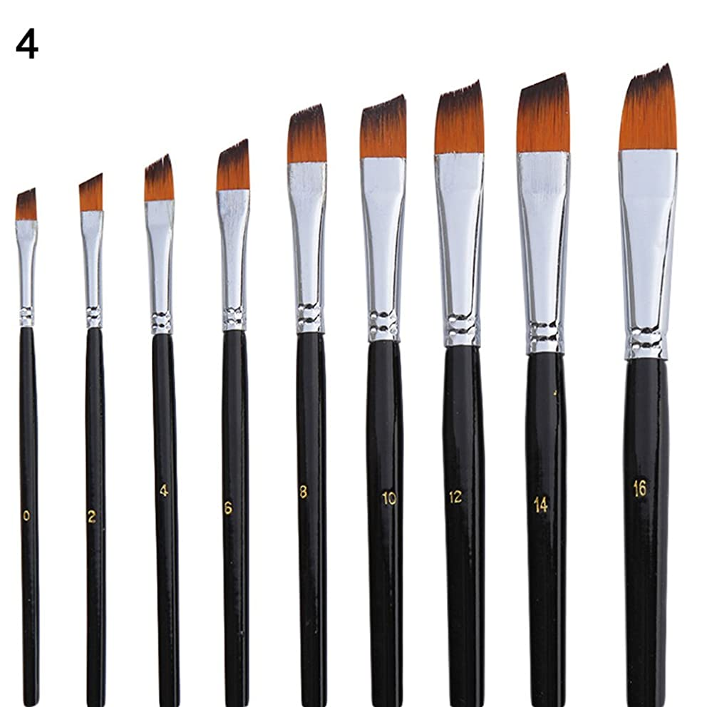 Polytree 9Pcs/Set Nylon Hair Painting Brush Art Supplies for Artists Watercolor, Acrylic, Gouache, Oil Painting