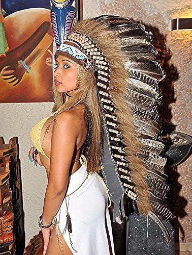 Federhaube Truthahn Echt Federn Coiffe Indienne Indian Headdress War bonnet Feather Little Big Horn