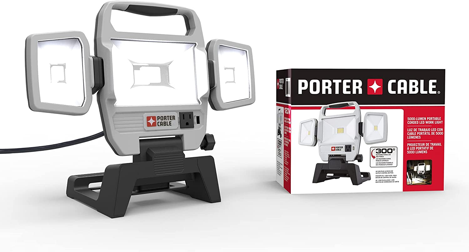 PORTER-CABLE 50W 5000-Lumen Max Ranking TOP5 Portable LED Light security Corded Work