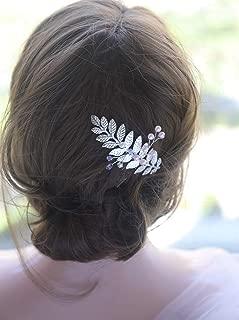 Deniferymakeup Wedding Crystals Pearls and Leaf Hair Comb Bridal Vintage Headpiece Crystal Women Hair Comb Bridal Hair Comb Wedding Hair Piece Wedding Accessories Jewelry (Silver)