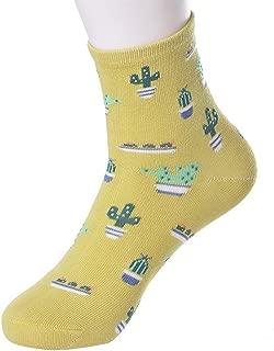 Crew Socks Women Cacti Plant Parttern Casual Socks Cotton Knitting Winter Fall Crew Socks Funny Athletic Sports Ankle Socks