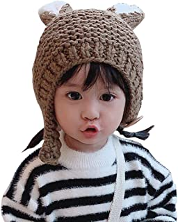 Xiang Ru Baby Knit Hat Pom Toddler Winter Hats Infant Knitted Hat Scarf Earflap Cap Coffee