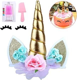 Unicorn Birthday Cake Topper with Eyelashes&Candles & Cake Cutter,Unicorn Cake Decorations for Girls Birthday Party, Wedding, Baby Shower, 6.0 inch