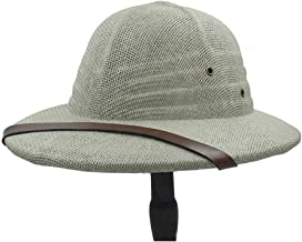 2019 Women Womens Simple Bowler Hat for Women Vietnam War Military Cap Straw Hat Summer Bow Bucket Sun Hat Ladies Men Explorer Jungle Miner Cap Fashion Casual (Color : Light Grey, Size : 56-58CM)
