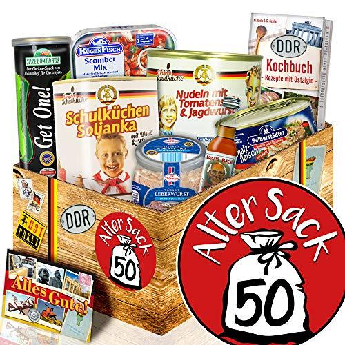 Alter Sack 50 + Geburtstagsgeschenk 50. Mann + Ostprodukte Geschenkset
