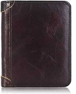 SHANGRUIYUAN-Wallet for Men Men Brusk Trifold Wallet Multi Slots Credit Vintage Leather Purse Money Bags Card Holders Male Clutch Wallets Wallet (Color : Coffee, Size : S)