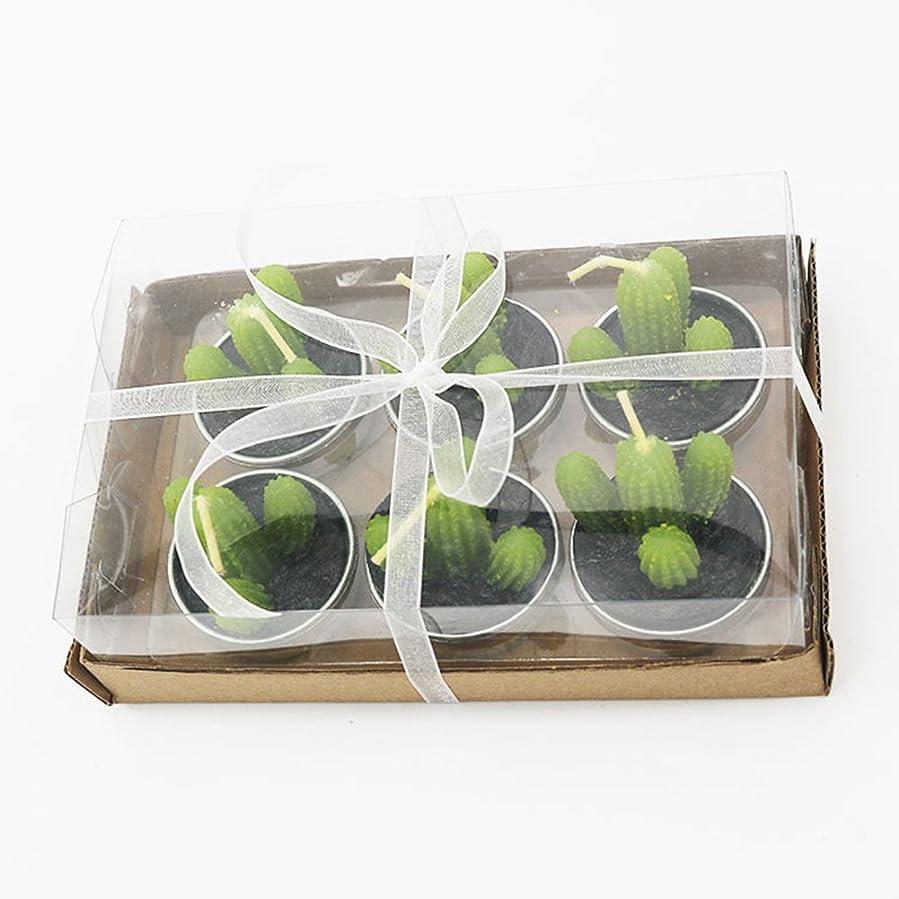 端影響を受けやすいです契約Liebeye キャンドル 多肉植物スモークフリーのクリエイティブなキャンドル100%自然のワックスかわいい模造植物フルーツの形状低温キャンドル 6個/箱 カクタス?ボックス