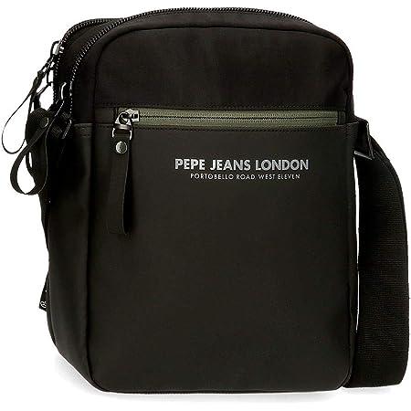 "Pepe Jeans Sail Bandolera Dos Compartimentos Portatablet 9,7"" Negro 22x27x8 cms Poliéster y PU"