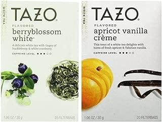 Tazo Flavored White Tea 2 Flavor Variety Bundle; (1) Tazo Berryblossom White, and (1) Tazo Apricot Vanilla Creme, 1.06 Oz. Ea.