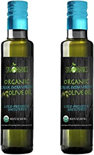 Organic Extra Virgin Olive Oil Sky Organics (16.9 oz x 2) 100% Pure Greek Cold Pressed Unfiltered Non-GMO EVOO- For Cooking Baking - Hair & Skin Moisturizing Award Winning Best USDA Organic Olive Oil