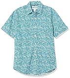 Amazon Essentials Slim-Fit Short-Sleeve Casual Poplin Shirt Button-Down-Shirts, Flores Medianas de Color Verde Azulado, 54-56