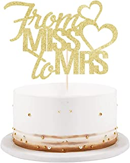 LVEUD From Miss To Mrs Cake Topper -Silver glitter Bridal shower, wedding, engagement party cake topper-Party decorations