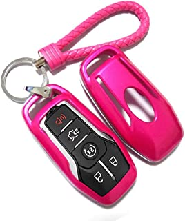 Thor-Ind ABS Car Key Fob Case Cover Key Chain for Ford Taurus Mustang F-150 F-450 Explorer Fusion Edge Lincoln MKC MKZ MKX 4/5-Button Smart Key Glossy Plastic Protective Shell (Rose Red)