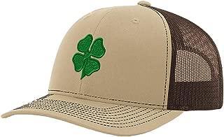 Custom Richardson Trucker Hat Four Leaf Clover Embroidery Design Polyester Snaps