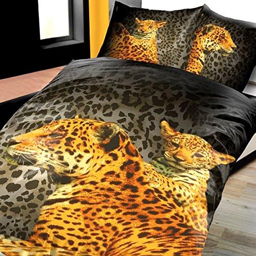 4-Teilig Microfaser Bettwäsche Set Leopard mit Kind schwarz/Gold Fotodruck mit Reißverschluss 2X 135x200 Bettbezug + 2X 80x80 Kissenbezug, Öko-Tex Standart 100