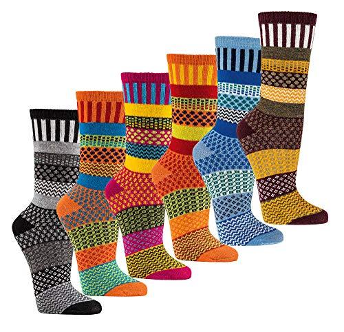 Wowerat 6 Paar Multi-Color Wollsöckchen Druckarme weiche Zehennaht 35-38